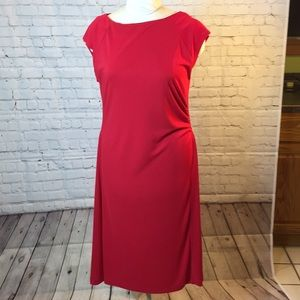 New Evan Picone red jersey dress w ruching size L